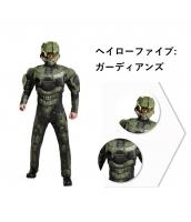 ヘイローファイブ:ガーディアンズ コスチューム グリーン Halo5:Guardian 筋肉ジャンプスーツ+ヘルメット 2点セット qx10059-4