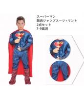 スーパーマン コスチューム 7-9歳児 筋肉ジャンプスーツ+マント 2点セット qx10060-3