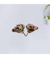 コスプレ小道具 ヘアクリップ 猫耳 ヒョウ柄 qx10062-8