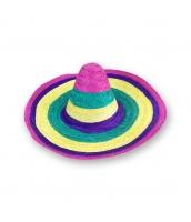 メキシコ コスプレ小道具 帽子 レインボー ストローハット qx10063-1