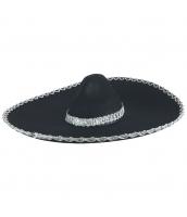 メキシコ コスプレ小道具 帽子 ブラック qx10063-11