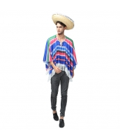 メキシコ コスチューム 衣装 ブルー トップス+帽子 2点セット qx10063-16