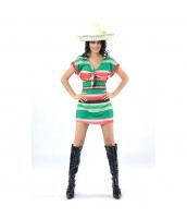 メキシコ コスチューム 衣装 グリーン トップス+帽子 2点セット qx10063-17