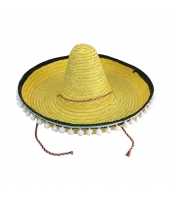 メキシコ コスプレ小道具 帽子 イエロー ストローハット qx10063-6
