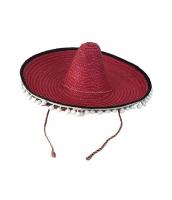 メキシコ コスプレ小道具 帽子 ダークレッド ストローハット qx10063-7
