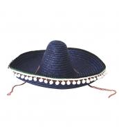 メキシコ コスプレ小道具 帽子 ブルー ストローハット qx10063-8