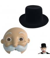 コスプレ小道具 金持ちあしながおじさん 帽子+マスク 2点セット qx10068-3