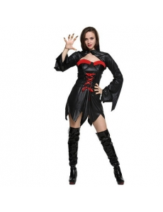 コスチューム ハロウィン 女バンパイア 吸血鬼 コスプレ 仮装 衣装 2点セット ドレス+ショール qx10069-11