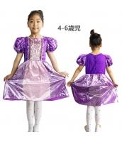 塔の上のラプンツェル コスチューム ドレス パープル 4-6歳児 qx10070-1