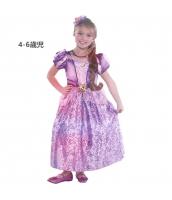 塔の上のラプンツェル コスチューム ドレス ロングパープル 4-6歳児 qx10070-11