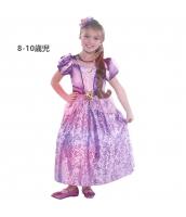 塔の上のラプンツェル コスチューム ドレス ロングパープル 8-10歳児 qx10070-12