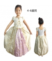 塔の上のラプンツェル コスチューム ドレス イエロー 4-6歳児 qx10070-4