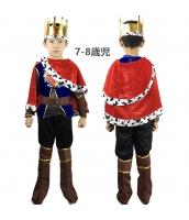 コスチューム 国王 キング 7-8歳児 王冠+トップス+マント+アームカバーx2+ベルト+パンツ+ブーツカバーx2 9点セット qx10071-2