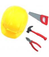 コスプレ小道具 大工職人 フル装備 子供用 ヘルメット・安全帽+のこぎり・ソ-+金槌・トンカチ+ベンチ 4点セット qx10073-1