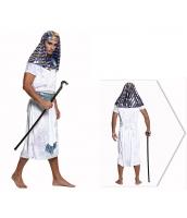 古代エジプト コスチューム ファラオ エジプト王 白 フード+ワンピース+ネックピース+ウエストバンド 4点セット qx10074-10