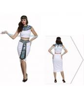古代エジプト コスチューム エジプト王宮 貴族衣装 ヘッドバンド+トップス+ウエストバンド付きスカート+ネックピース 4点セット qx10074-11