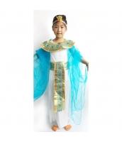 古代エジプト コスチューム エジプト女王 ヘッドピース+ネックピース+ウエストバンド付き白ドレス+藍ショール 4点セット qx10074-18