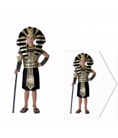 古代エジプト コスチューム ツタンカーメン 黄金王 7-10歳児 帽子+ワンピース+ネックピース+アームカバーx2+ウエストバンド 6点セット qx10074-5