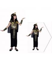 古代エジプト コスチューム クレオパトラ 7-10歳児 ドレス+ヘッドピース+ネックピース+ウエストバンド+アームカバーx2 6点セット qx10074-6