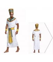 古代エジプト コスチューム ファラオ エジプト王 帽子+ワンピース+ネックピース+ウエストバンド+アームカバーx2 6点セット qx10074-7