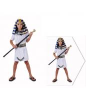 古代エジプト コスチューム ファラオ エジプト王 7-10歳児 ヘッドピース+ワンピース+ネックピース+ウエストバンド 4点セット qx10074-8