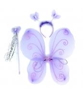 コスプレ小道具 紫蝶々ウィング+カチューシャ+棒 3点セット qx10087-5