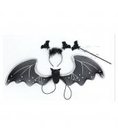 コスプレ小道具 蝙蝠ウィング+カチューシャ+棒 3点セット qx10087-8