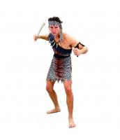 インディアン コスチューム 部族民 狩人 男 3点セット ヘアバンド+ワンピース+ウエストバンド 3点セット qx10090-1