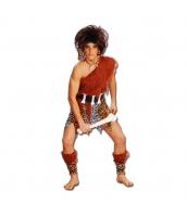 インディアン コスチューム 部族民 狩人 男 5点セット ヘッドピース+ワンピース+ウエストバンド+ブーツカバーx2 5点セット qx10090-14