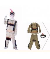 インディアン コスチューム 部族民 子供狩人 4-6歳児 3点セット 4-6歳児 ヘアバンド+トップス+パンツ 3点セット qx10090-17