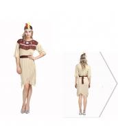 インディアン コスチューム 部族民 長老 女 3点セット ヘッドピース+ドレス+ウエストバンド 3点セット qx10090-3