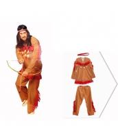 インディアン コスチューム 部族民 狩人 ブラウン 男 3点セット ヘッドピース+トップス+パンツ 3点セット qx10090-5