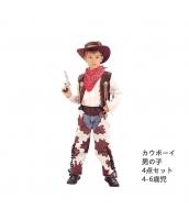 カウボーイ コスチューム 4-6歳児 帽子+スカーフ+ベスト+パンツセット 4点セット qx10095-3