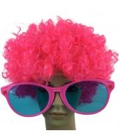 コスプレ小道具 ピンク 大人/子供共通 色眼鏡+ウィッグ 2点セット qx10097-10