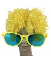 コスプレ小道具 イエロー 大人/子供共通 色眼鏡+ウィッグ 2点セット qx10097-6