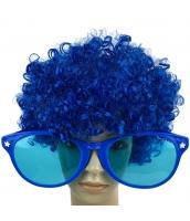 コスプレ小道具 ブルー 大人/子供共通 色眼鏡+ウィッグ 2点セット qx10097-7