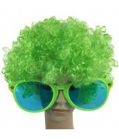 コスプレ小道具 グリーン 大人/子供共通 色眼鏡+ウィッグ 2点セット qx10097-9