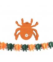 ハロウィン用品 小道具 飾り紙 ペーパーオーナメント オレンジクモ qx10102-4