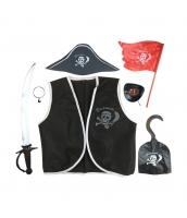 海賊 フルセット パイレーツ・オブ・カリビアン コスチューム 4-9歳児 ベスト+帽子+アイパッチ+イアリング+錨+刀+旗 7点セット qx10104-1