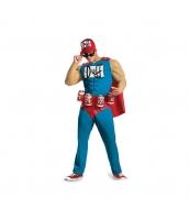 スーパーマン コスチューム DUFF 筋肉ジャンプスーツ+マント+ベルト+帽子 4点セット qx10110-1