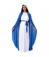 聖母マリア コスチューム ヘッドピース+ワンピース+ウエストバンド+マント 4点セット qx10163-2