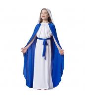聖母マリア コスチューム 7-10歳児 ヘッドピース+ワンピース+ウエストバンド+マント 4点セット qx10163-4