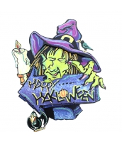 ハロウィン用品 小道具 貼り紙 両面シール 魔女・ウィッチ qx10117-1