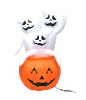 ハロウィン用品 小道具 提灯 幽霊パンプキン 提灯+風入れ機械+ランプx2 4点セット qx10119-13