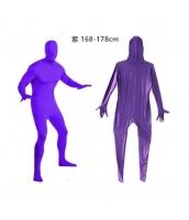 コスチューム フードマスク付きジャンプスーツ 紫 168-178cm qx10137-13