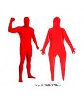 コスチューム フードマスク付きジャンプスーツ レッド 168-178cm qx10137-2