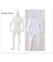 コスチューム フードマスク付きジャンプスーツ 白 168-178cm qx10137-4