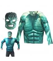 超人ハルク/ブルース・バナー アベンジャーズ コスチューム 半身筋肉ジャンプスーツ+マスク 2点セット qx10144-11