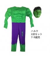 超人ハルク/ブルース・バナー アベンジャーズ コスチューム 7-9歳児 筋肉ジャンプスーツ+マスク 2点セット qx10144-7
