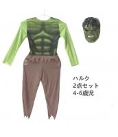 超人ハルク/ブルース・バナー アベンジャーズ コスチューム 4-6歳児 筋肉ジャンプスーツ+マスク 2点セット qx10144-8